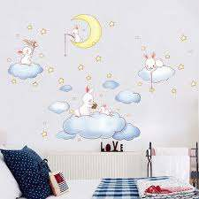 Cute Clouds Rabbit Wall Stickers For Kids Rooms Removable Diy Children Bedroom Wall Decals Home Decor Cartoon Wallpaper Wall Stickers Aliexpress