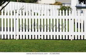 White Fence Front Yard Stock Photo Edit Now 317887892