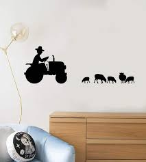 Vinyl Wall Decal Farmer Tractor Animals Sheeps Farm Kids Room Stickers Wallstickers4you
