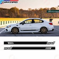 Racing Sport Stripes Car Door Side Skirt Sticker For Subaru Wrx Sti Auto Body Accessories High Quality Waterproof Vinyl Decals Car Stickers Aliexpress