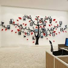 Amazon Com Unitendo 3d Wall Stickers Photo Frames Familytree Wall Decal Easy To Install Apply Diy Photo Gallery Frame Decor Sticker Home Art Decor Red Black Arts Crafts Sewing
