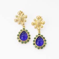 green agate flower drop earrings