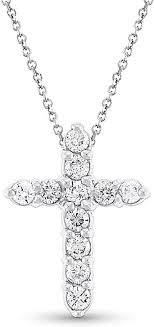 14k white gold diamond cross pendant kc