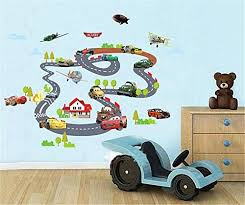 Ufengke Cartoon Racing Car Aircraft Wall Decals Children S Room Nursery Removable Wall Stickers Murals Baby B01dal6uxg