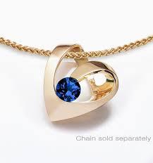 14k yellow gold heart blue sapphire