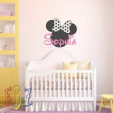 Amazon Com Personalized Baby Name Vinyl Wall Decal Decor Minnie Mouse Custom Decals Murals Cartoon Vinyl Stickers Kids Baby Girls Room Nursery Vinyl Wall Art Decor Made In Usa Kitchen Dining