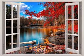 Autumn Lakeside 3d Window View Decal Wall Sticker Decor Art Mural Scenery Nature Beautiful Nature Scenery Wallpaper Scenery