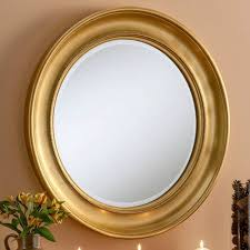 contemporary round wall mirror gold