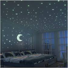 Amazon Com Glow In The Dark Moon And Stars 300pcs 9 4 Large Moon And Various Size Fluorescent Stars For Ceiling Decoration In Kids Room Baby