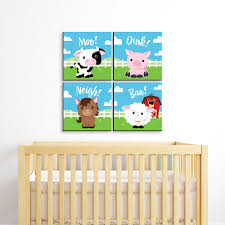 Farm Animals Barnyard Kids Room Nursery Decor And Home Decor 11 X 11 Inches Nursery Wall Art Set Of 4 Prints For Baby S Room Bigdotofhappiness Com