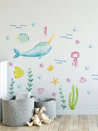 Narwhal And Sea Life Wall Stickers Decobeez