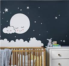 Amazon Com Enidgunter Moon Wall Decal Cloud Nursery Wall Stickers For Kids Room Decal Nursery Stars Vinyl Wall Sticker Girls 80x100 Cm Kitchen Dining