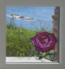 The Decal Store Com By Yadda Yadda Design Co Clr Wnd Rose Stained Glass D1 See Through Vinyl Window Decal C