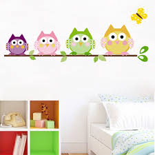Lovely Owls Wall Stickers For Girls Room Bedroom Home Decoration Diy Animal Bird Pvc Mural Art Kids Wall Decals Wall Stickers Aliexpress
