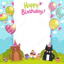 Fondo Feliz Tarjeta De Cumpleanos Con Un Gato El Perro Y Pastelitos Ilustraciones Vectoriales Clip Art Vectorizado Libre De Derechos Image 27623714