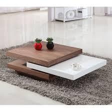 Iva White/Walnut Rotating Coffee Table | White coffee table modern ...
