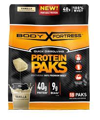 body fortress protein paks vanilla