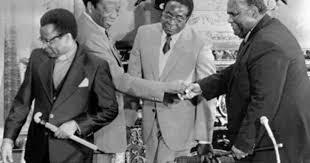 Prime Minister Abel Muzorewa; his deputy Abel Muzorewa, Silas Mundawarara,  Robert Mugabe and Joshua Nkomo | History, Zimbabwe, Joshua
