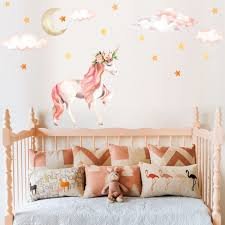 Pink Unicorn Animal Wall Stickers For Kids Rooms Girls Rooms Bedroom Decor Cute Cartoon Wallpaper Unicorn Party Decoration Wall Stickers Aliexpress