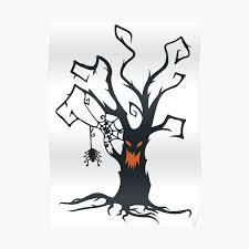 Scary Halloween Tree Poster By Suspendeddreams Redbubble