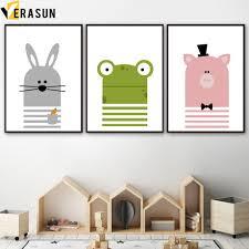 Nordic Cartoon Rabbit Animal Canvas Wall Poster Paintings Home Kids Room Decor