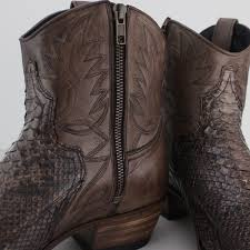 leather python ankle cowboy boots brown