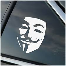 Anonymous Guy Fawkes Vinyl Car Window Decal Sticker White For Sale Online Ebay
