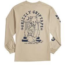 grizzly bear hug long sleeve t shirt sand