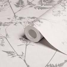 Graham & Brown Gilded fern Grey Leaf Metallic effect Smooth Wallpaper    Departments   DIY at B&Q