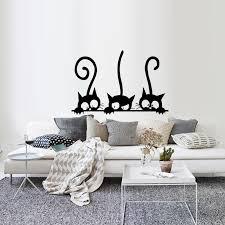 Lovely 3 Black Cute Cats Wall Sticker Modern Cat Wall Decals Girls Vinyl Home Decor Cute Cat Living Room Children Room Bedroom Wall Stickers Aliexpress