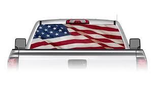 Weston Ink See Through Rear Window Decal American Flag