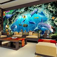 Shop Custom 3d Photo Wallpaper For Kids Room Cartoon Underwater World Dolphin Wall Painting Living Room Bedroom Mural Wallpaper Decor Online From Best Wall Stickers Murals On Jd Com Global Site