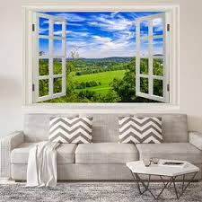 Vwaq Vinyl Nature Window Wall Decal Grassy Field Scenic Mural Wall D