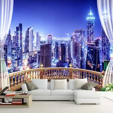 Shop Custom 3d Photo Wallpaper Window City Night View Large Murals Wall Painting Wall Papers Home Decor Living Room Bedroom Modern Online From Best Wall Stickers Murals On Jd Com Global Site