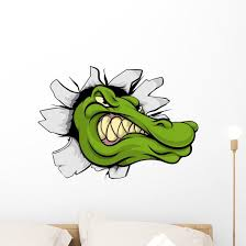 Crocodile Or Alligator Head Breaking Through Wall Wall Decal Wallmonkeys Com