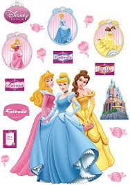 Amazon Com Princesses Aurora Cinderella And Belle Wall Decal Home Kitchen