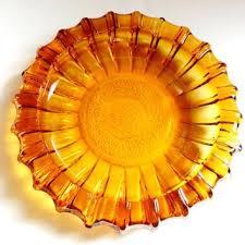 vintage blenko topaz glass ashtray