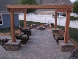 concrete paver patio firepit arbor
