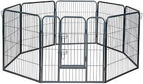 Amazon Com Paws Pals Dog Playpen Portable Heavy Duty Metal Pen Fence For Indoor Outdoor Foldable 8 Panel 30 Square Feet Wire Pet Playpens With Tube Gate For Play