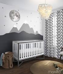 Full Moon Stars With Grey Mountain Scenery Nursery Wall Etsy Baby Room Mural Ideas Nursery Baby Room Kids Room Wall Decals