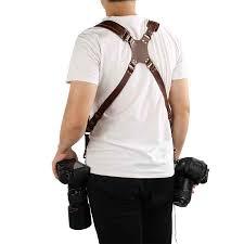 Adjustable Leather Camera Strap Camera Harness Double Shoulder ...