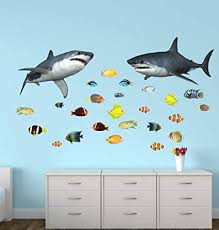 Amazon Com Shark Wall Decals With Tropical Fish Stickers Home Improvement