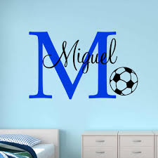 Soccer Custom Name Wall Stickers For Kids Room Personalized Football Boys Name Bedroom Nursery Wall Picture Baby Wall Decals Aliexpress