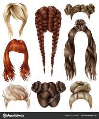 Realistic Female Hairstyles Set Stock Vector C Macrovector