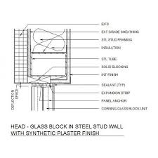 glass block in stud wall cad dwg