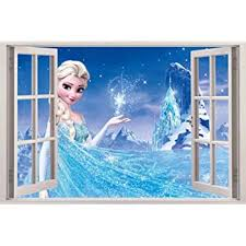 Amazon Com Ice Princess 3d Window View Decal Wall Sticker Home Decor Art Mural Kids C039 Large Kitchen Dining