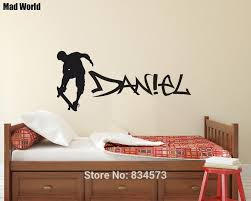 Custom Skateboard With Graffiti Name Wall Art Stickers Wall Decals Home Diy Decoration Removable Room Decor Wall Stickers Wall Stickers Aliexpress