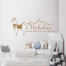 Llama Wall Decals Custom Name Boys Name Vinyl Stickers Personalized Name Alpaca Mountains Art Decorations For Bedroom A1 044 Wall Stickers Aliexpress