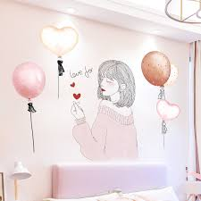Shijuekongjian Cartoon Girl Wall Stickers Diy Pink Balloons Wall Decals For Kids Room Baby Bedroom Nursery Glass Decoration Wall Stickers Aliexpress