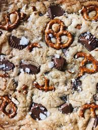 peanut er cup pretzel cookie bars